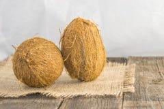 Kokosnüsse auf einem rustikalen Hintergrund Lizenzfreie Stockbilder