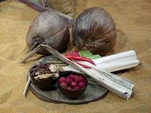 Kokosnüsse und Gewürze Stockfotos