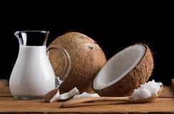 Kokosnüsse und Kokonussmilch Stockbild