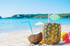 Kokosnoot en ananasdrank Royalty-vrije Stock Foto's