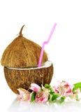 Kokosnoot gestileerd als glas voor coctail stock foto's