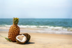 Kokosnoten en ananassen op het zand door het overzees Stock Fotografie