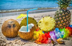 Kokosnoten en de ananashelften op het zand stock afbeelding