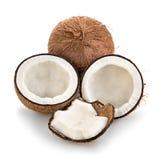 Kokosnoten op wit worden geïsoleerd dat Stock Foto