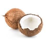 Kokosnoten op wit worden geïsoleerd dat Royalty-vrije Stock Foto's