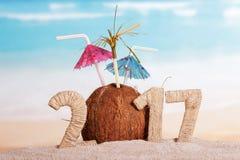 Kokosnoten in plaats daarvan nummer 0 in bedrag 2017 tegen overzees Stock Foto's