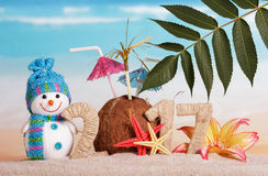 Kokosnoten in plaats daarvan nummer 0 in 2017, sneeuwman tegen overzees Royalty-vrije Stock Foto