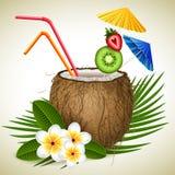 Kokosnotencocktail stock illustratie