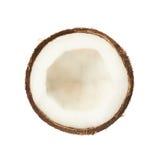Kokosnotenfruit in de helft wordt gesneden die Royalty-vrije Stock Foto's