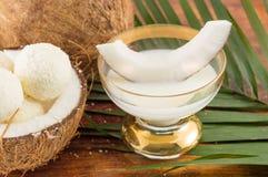 Kokosnotenlikeur in glas Royalty-vrije Stock Foto