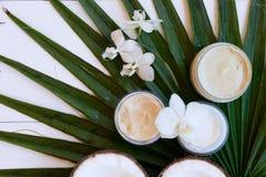 Kokosnotenolie en schoonheidsmiddelen stock fotografie