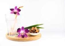 Kokosnotensap en Thais wafeltje stock foto's