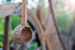Kokosnotenshell dipper het hangen Stock Afbeelding