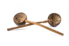 2 kokosnotenshell gietlepel Royalty-vrije Stock Fotografie