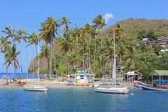 Kokosnotenstrand bij Marigot-Baai Royalty-vrije Stock Foto