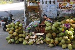 Kokosnotenverkoper bij Pondicherry-Stad, India stock afbeeldingen