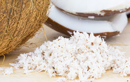 Kokosnotenvlees en Geraspte Kokosnoot royalty-vrije stock foto's