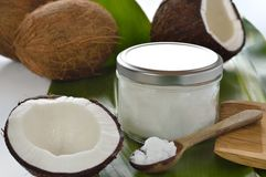 Kokosnötter och organisk kokosnötolja. Arkivbild