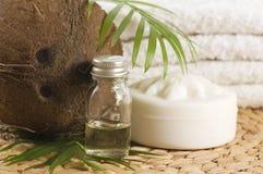 Kokosnussöl für alternative Therapie lizenzfreies stockfoto