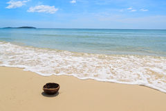 Kokosnuss auf dem Strand Lizenzfreie Stockbilder