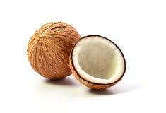 Kokosnuss auf weißem Hintergrund Stockbilder