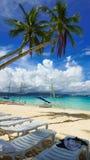 Kokosnuss-Bäume auf Paradies-Strand stockbild
