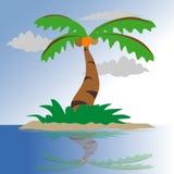 Kokosnuss-Baum auf einer kleinen Inselillustration lizenzfreie abbildung