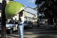 Kokosnuss-förmiges phonebooth, Salvador, Brasilien Stockfotos