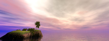 Kokosnuss-Insel-Panorama stockfotografie
