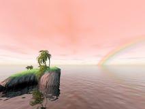 Kokosnuss-Insel-Regenbogen lizenzfreies stockbild