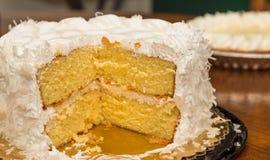 Kokosnuss-Kuchen mit Torte im Hintergrund Stockfotografie