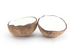 Kokosnuss mit Hälfte Stockbilder