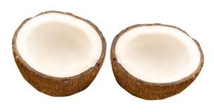 Kokosnuss mit Hälfte Lizenzfreie Stockbilder