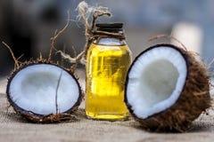 Kokosnuss- u. Kokosnussöl stockfoto