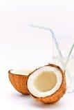 Kokosnuss und Glas mit Cocomilch Lizenzfreie Stockfotos