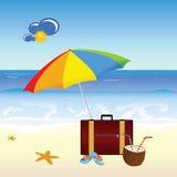 Kokosnuss- und Strandvektorteil vier Lizenzfreie Stockfotos