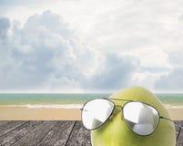 Kokosnussabnutzungssonnenbrille, Sommerkonzept Lizenzfreies Stockfoto
