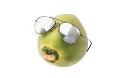 Kokosnussabnutzungssonnenbrille, Sommerkonzept Stockbilder