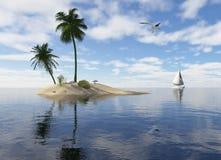 Kokosnussbäume auf kleiner Insel Stockfotografie