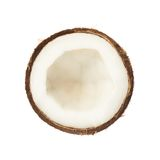 Kokosnussfrucht geschnitten zur Hälfte Lizenzfreie Stockfotos