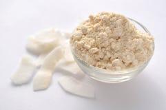 Kokosnussmehl und -flocken auf weißem Hintergrund Sahnepulver in einer Glasschüssel Lokalisiert auf Weiß Alternativglutenfreies M stockfoto