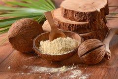 Kokosowa mąka na stole zdjęcia royalty free