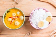 Kokosowego mleka curry'ego rybia i rybia piłka z tajlandzkim ryżowym kluski Obrazy Royalty Free