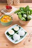 Kokosowego mleka curry'ego rybia i rybia piłka z tajlandzkim ryżowym kluski Zdjęcia Stock
