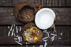 Kokosowi deseru i lna ziarna Zdjęcia Royalty Free