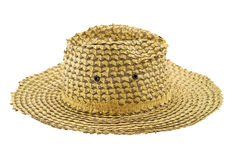 Kokosowy liść wyplata kapelusz na białym tle Fotografia Royalty Free