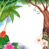 Kokospalm en Tropisch de Illustratiekader van de Bloemwaterverf Stock Foto