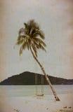 Kokospalmer på gammalt papper Arkivfoton