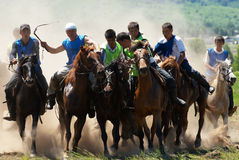 Kokpar - traditional nomad horses competitions Stock Photos
