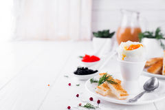 Kokt ägg för frukost Royaltyfri Fotografi